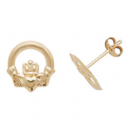 9ct Gold claddagh stud earrings 0.26g